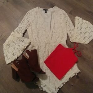 Ivory floral lace romper with bell sleeves